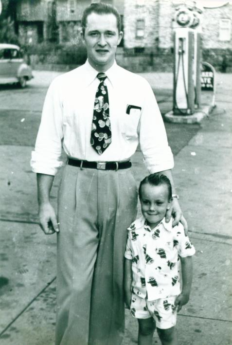 1948 - Uncle Gene, Rob @ Feller's Service Station on 10th st.
