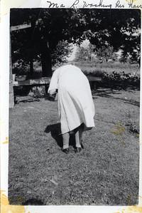 1938 Grandma Rutkowske washing her hair