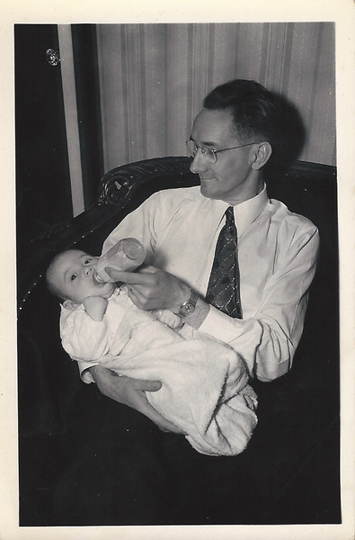 Dad (2 months old) with Great Grandfather Culver.