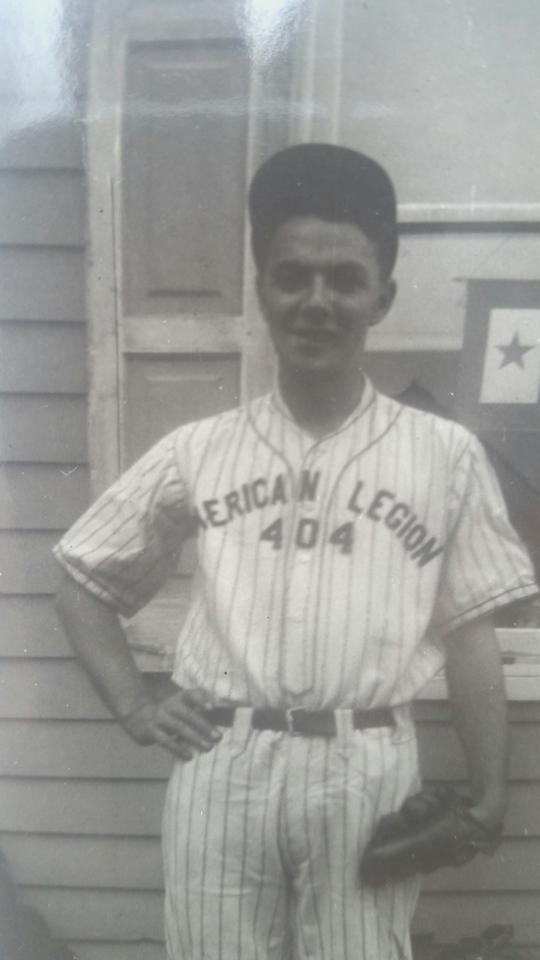 "Harold ""Pop"" Henninger playing baseball"