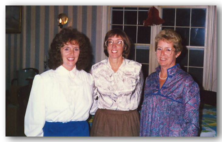 Nini, Penny and Pat at Jim Lee's Wedding. 1989