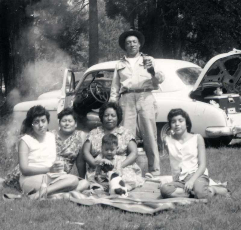 Camping at Cloudcroft.  Mom with Andreita holding me and Don Juan standing.  I don't know the other 2 people.