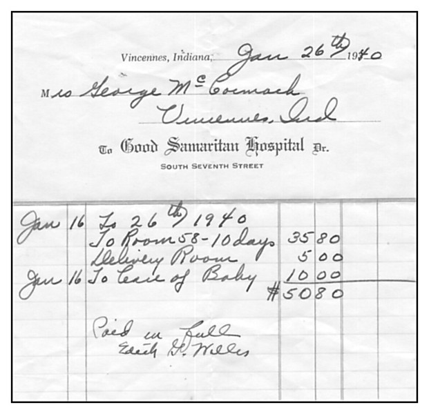 hospital bill for delivery of Gene Randall McCormack, 1940.