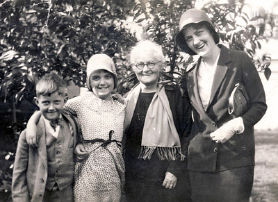 The Childerhoses and Grandmother Eldon. From left: Jack, Peggy, Grandmother Eldon, Winifred