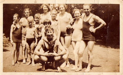 James & Harriet Dore with the Baker Family at Harrison Pt - summer 1933 Mr. Guilford?