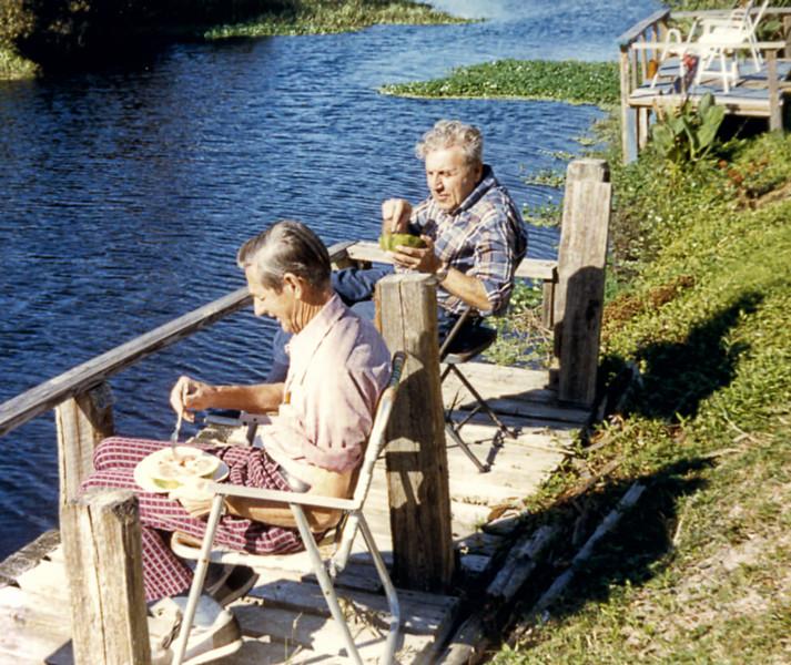 11 Old Nicol Photos - Dad & Don On His Dock (Florida)