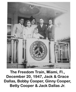 The Freedom Train toured the 48 states after the second world war carrying the Declaration of Independence, Bill of Rights and the Truman Doctrine.  This picture taken at station in downtown Miami next to Dade County Courthouse.