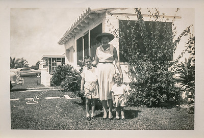 Mom Dallas (Grace) with Jack and Rick in front of 1035 NE 120 Street, Biscayne Park, Florida.