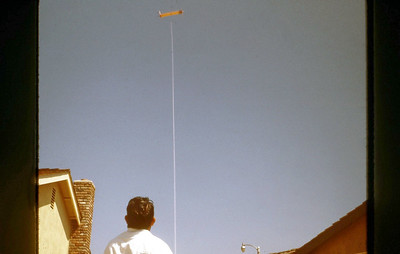 Dad flying the Roll-O-Kite