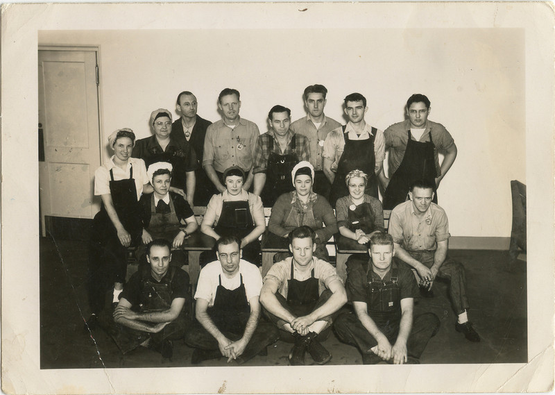 Torpedoe assembly, Keyport, 1946, George VanHorn is the middle of top row, Wilma VanHorn is middle of second row,