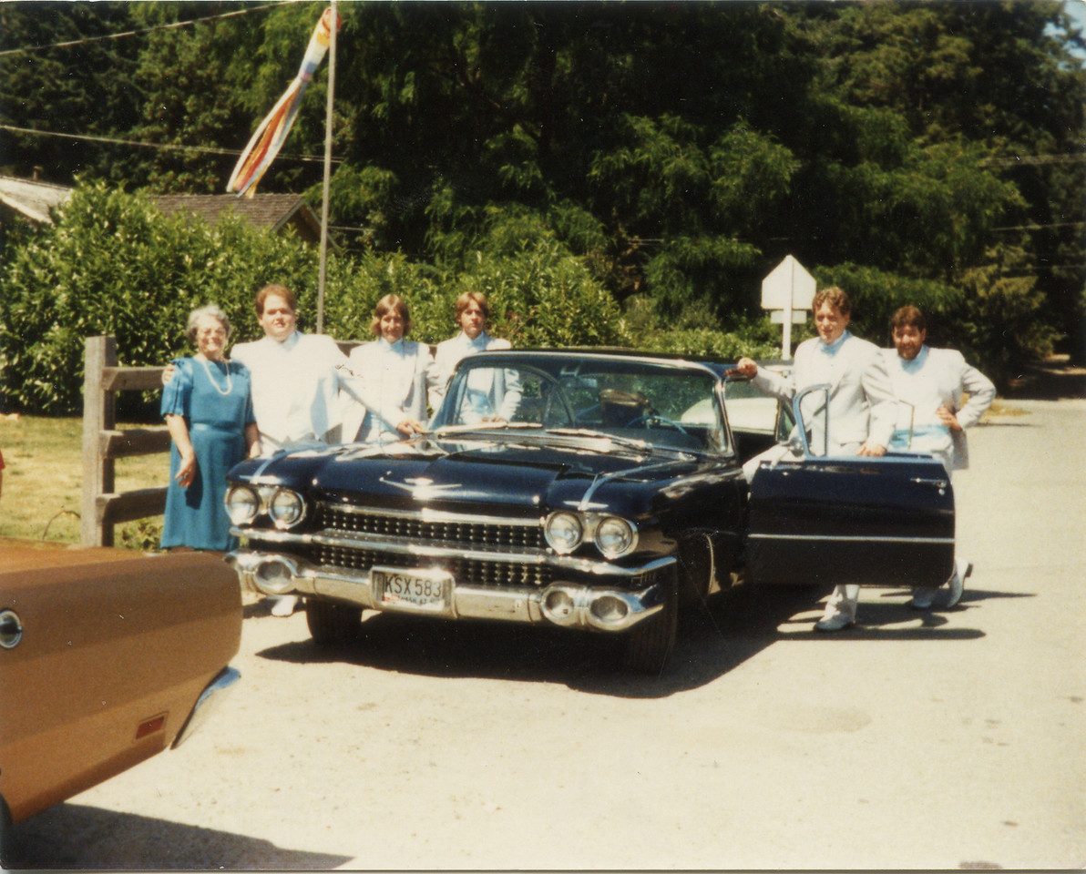 Grandma Wilma, Jeff, Tom, Kenny, Larry and Ron going to Jeffs wedding in Tom's Caddy July 1985.