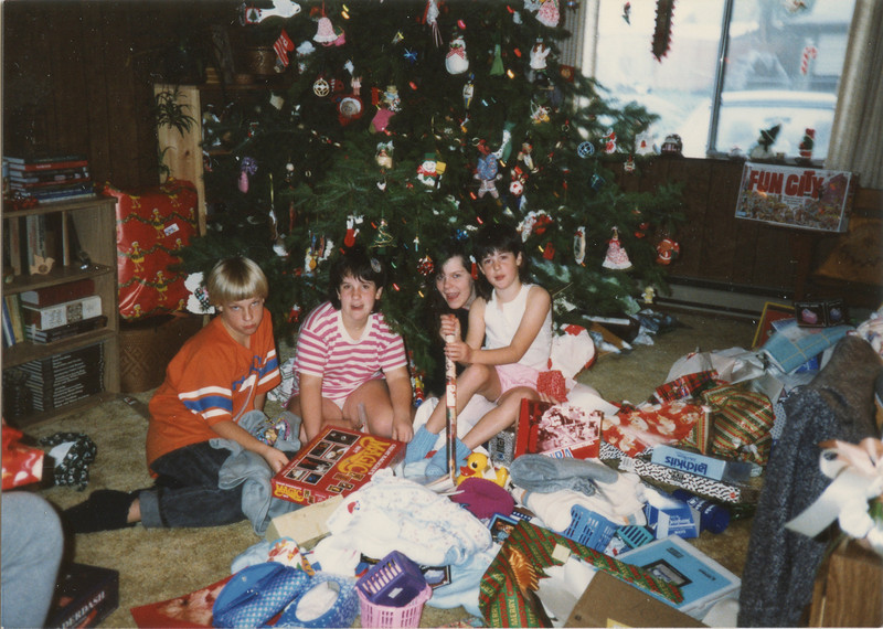 Christmas Day 1987, Beth, Jenny, Adam and Angela,
