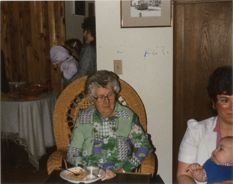 Georges 80th birthday at Larry and Karens house, Neva Todd, 4/28/1985,