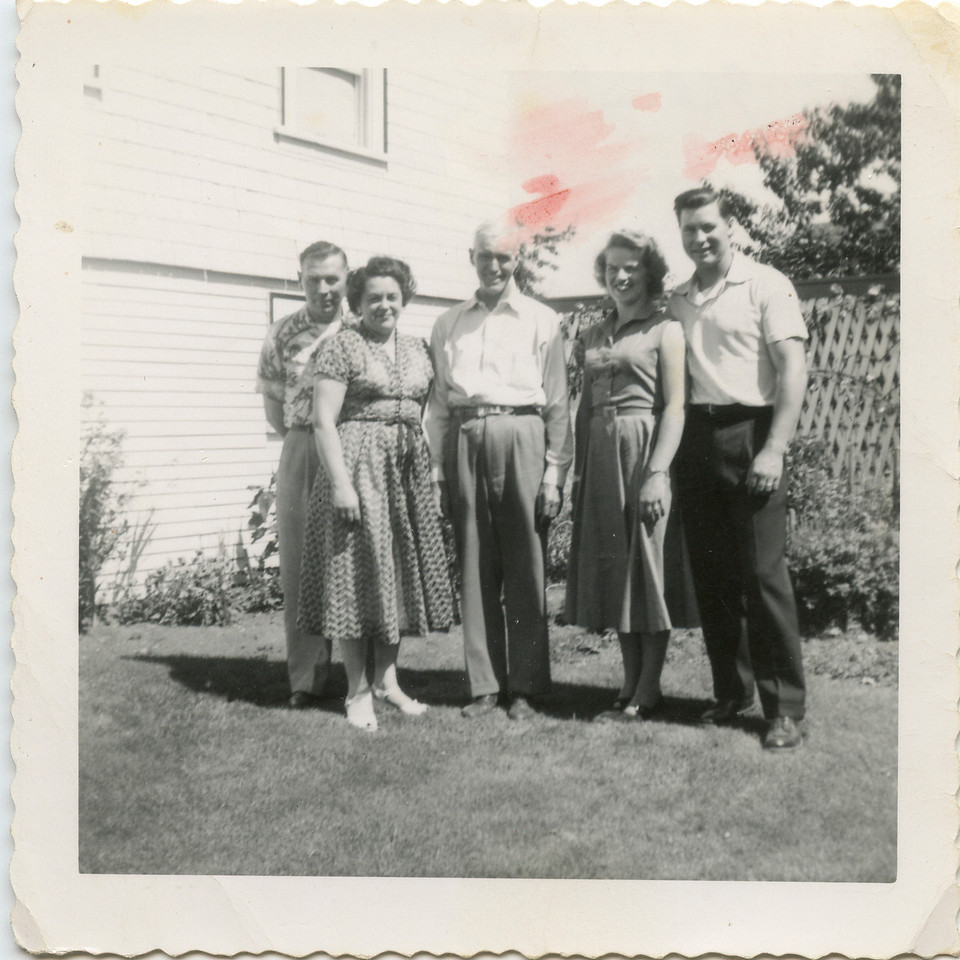 Wilma, George, Jack McCloud, Vi and George at McCloud house in Canada.