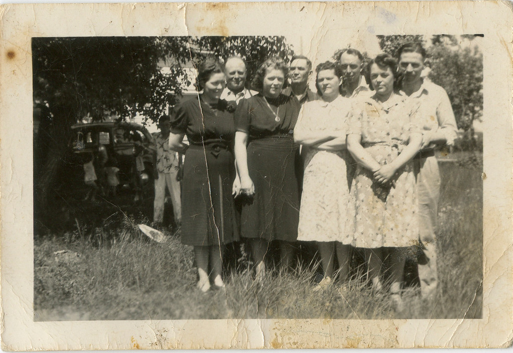 Wilma and George on right, Louise and Loyd, Kate and Lee, Mabel and Al. in 1930's or 1940's