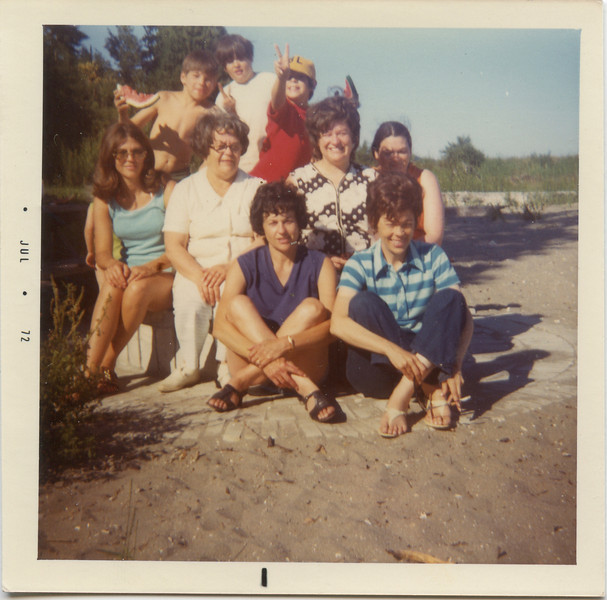 Wilma, Merideth, Loralie, Joyce, Beverly, Cheryl, Jeff, Danny and David. July 1972.