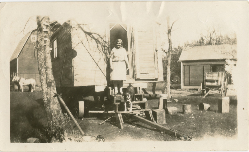 1920's, Grandma Sophronia Van Horn, George's Mother, The cook shack used to cook for the threshers of wheat at various farms in North Dakata,
