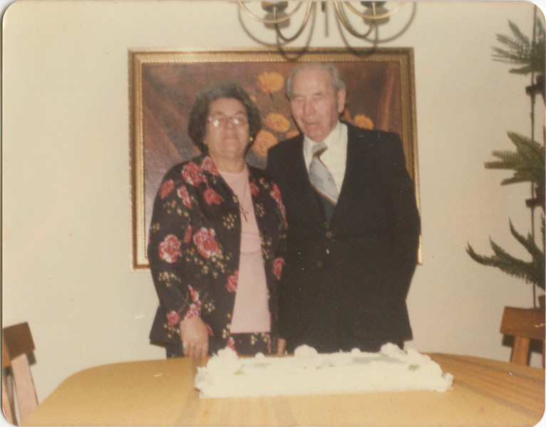 George and Wilma VanHorn, 47th Wedding Anniversity, at Bev and Freds house, Feb 21, 1976,