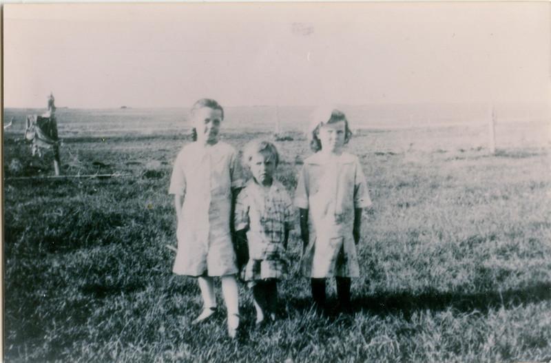Wilma, June, and Methyle,  in North Dakota, 1915or 1916,