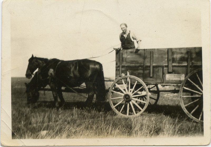 George hauling grain in 1928.