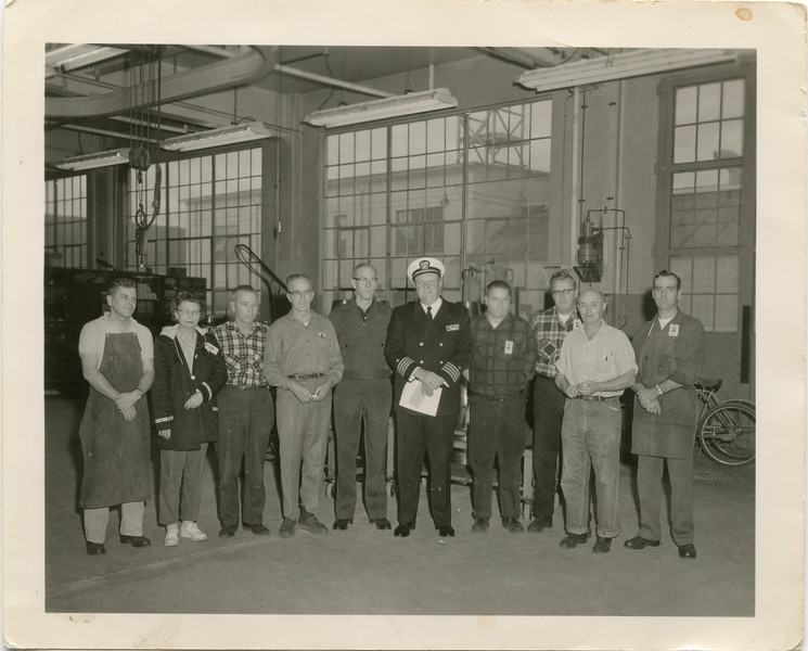 George VanHorn Reciving his 15 year pin, Jan 19th 1959, Keyport Wa.