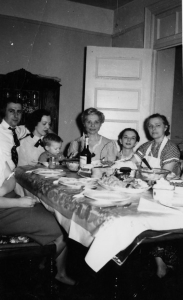 Right to left: John Barby, Joan Ramsey, Ed Ramsey, Anastasia Barby, Anna Barby and Charlotte Ferles, wearing her white cooking apron, of course!