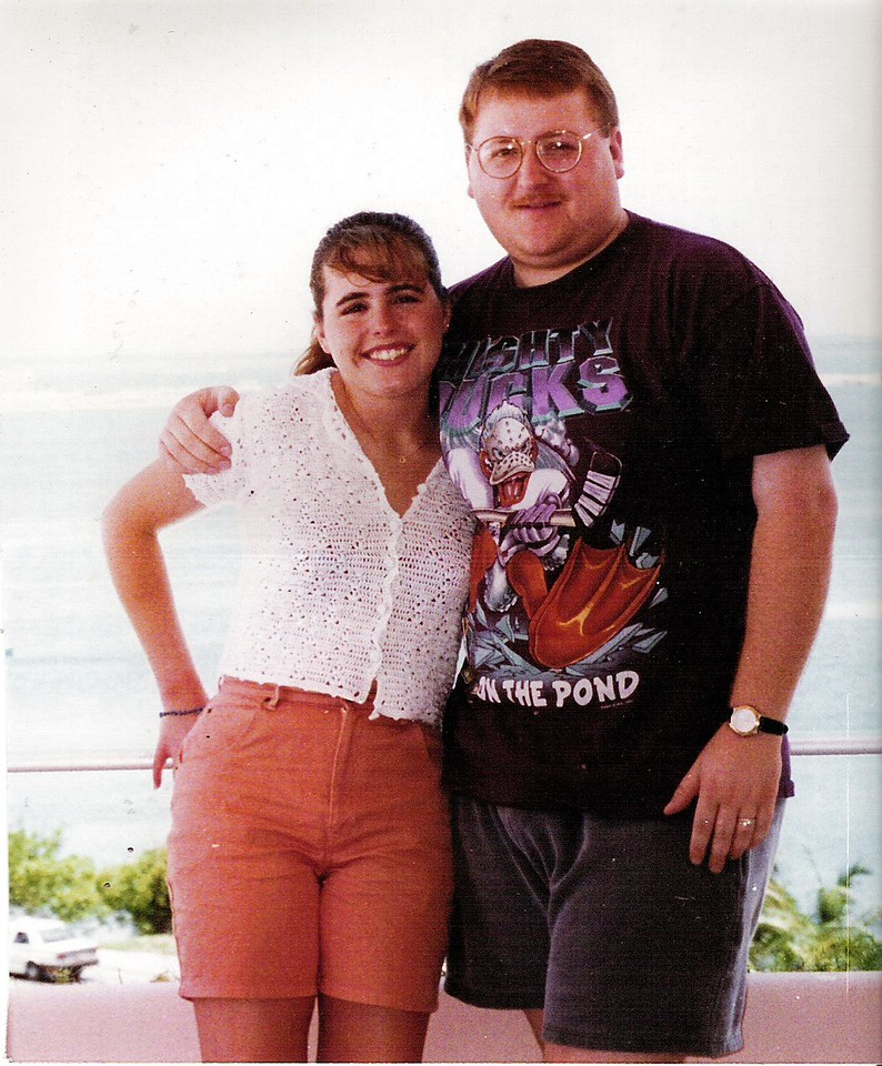 Lori and Brett in Cancun on our honeymoon.  I can't believe I was wearing a bikini top under that sweater!