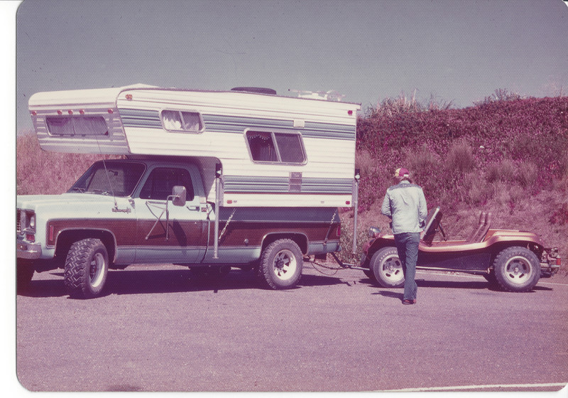 My truck and camper (73 Chevy) and Dennis' Dune Buggy