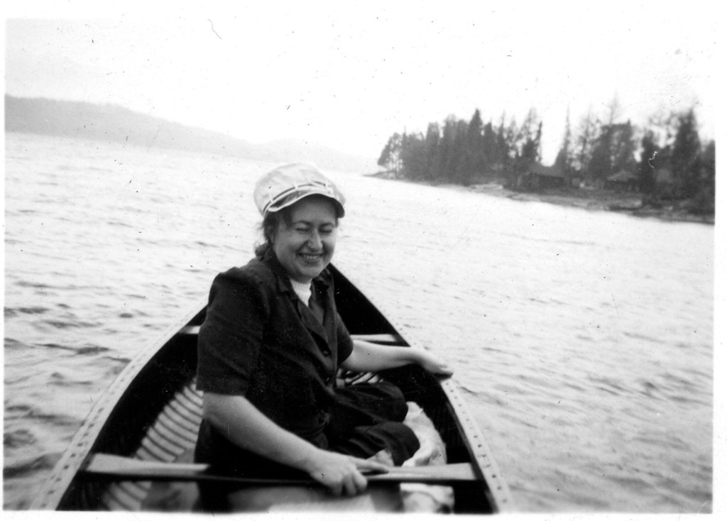 On the lake, Algonquin Provincial Park (note Mom's death grip on the canoe)