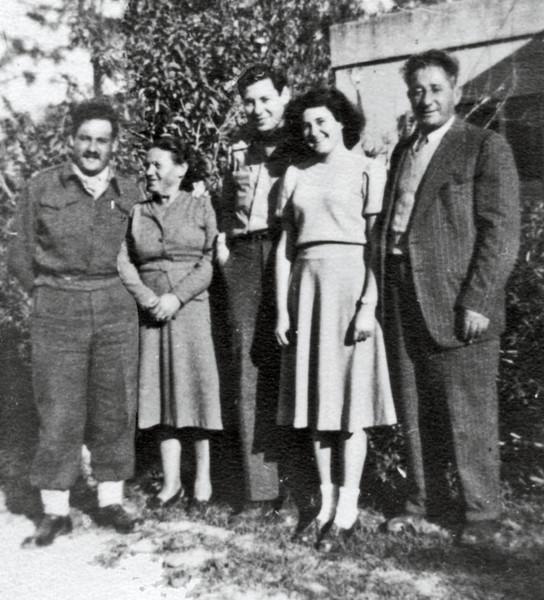 March 1951, Kiryat Chaim, Israel. Abba Knox (center), and from left: Yosef, Zhava, Aviva, and (Uncle) Zvi Knaigin.