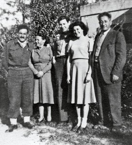 March 1951, Kiryat Chaim, Israel. Abba Knox (center), and from left: Yosef, Zhava, Aviva, and (Uncle) Zvi Knaigin.