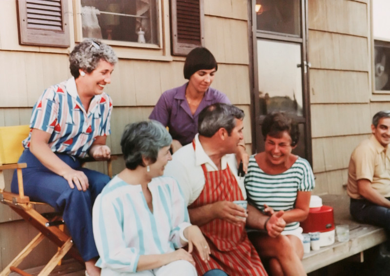 From left, Ann, Evie, Betty, John and Carol at a cookout at John's & Fran's house in Preston.