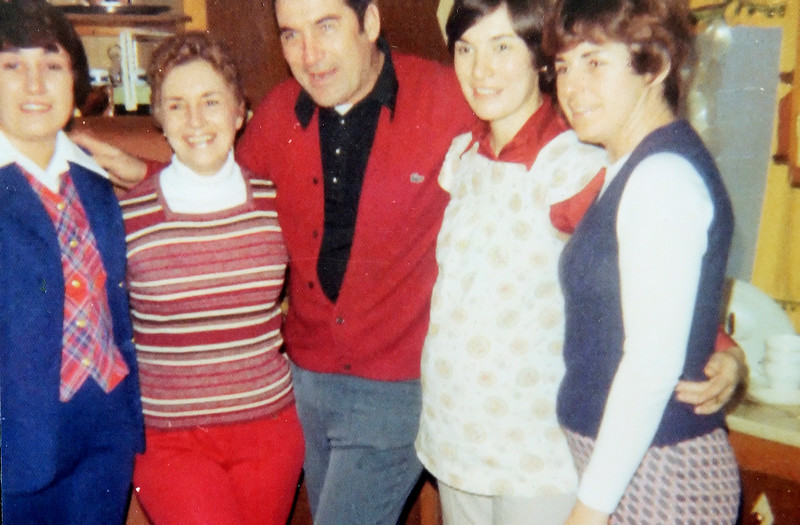 From left, Ann, Evie, John, Betty and Carol at Grampa Jenning's 70th birthday party in 1977.