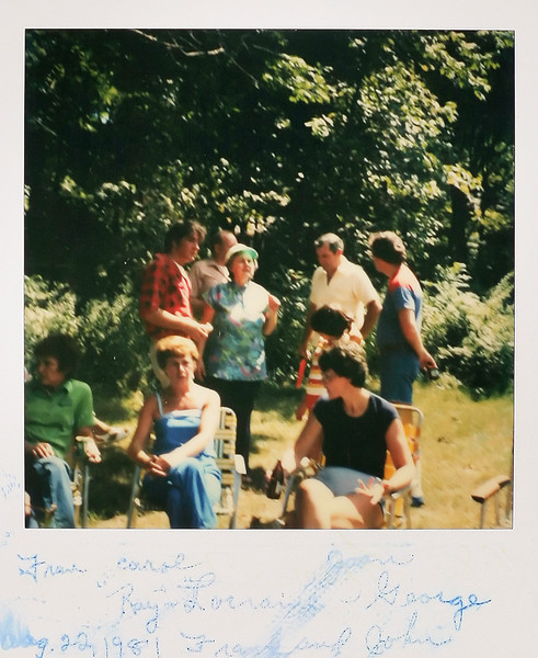 From left, Fran and Carol, Ray and Lorraine (behind them), John and Frank and Joan in front right. August 22, 1981.
