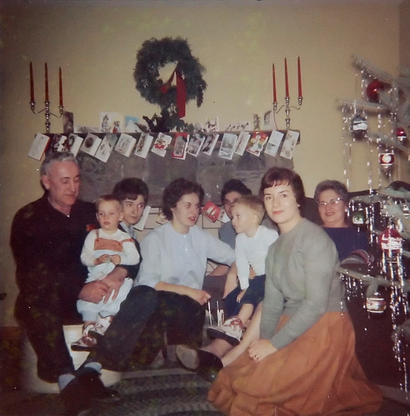 From left, Grampa Jennings, David Rec, Carol, Ray, Ronnie Rec, Fran Jennings, Evie, Grandma Jennings, Christmas 1963.