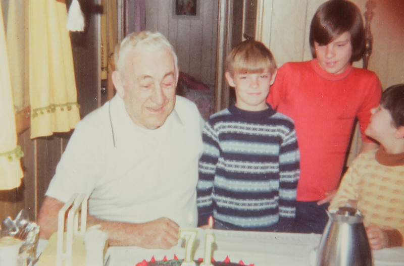 Grampa J's 71st birthday, 1978. From left, Grampa J, Greg Rec, Mike Rec and ?.