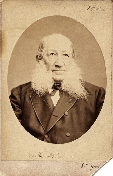 """Isaac Goodkind, born in Stein, Germany, May 12, 1799, died, U.S., November 5, 1884 -- apparently the year that this photo was taken.  Isaac Goodkind came to the U.S. in 1832.   According to a family history compiled in 1975 by my father, Bernard Goodkind, and his sister, Marion Goodkind Davis, Isaac and his wife, Sophia, had eight children.  The third of these, the first Bernard Goodkind, was also born in Stein, Germany and came to this country """"as an infant in arms.""""  The New York City Directory for 1850 or 1851 listed Isaac Goodkind's occupation as """"peddler."""""""