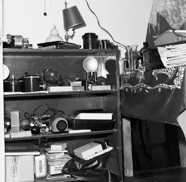 Some of my not very sophisticated photo and darkroom equipment, circa 1950.  Note the Kodak Brownie, replaced around 1951 by a fairly basic twin lens reflex.