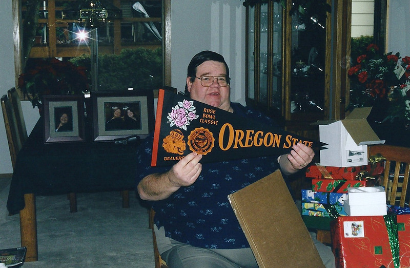 Dad with the OSU Rose Bowl Penant, Christmas 2000