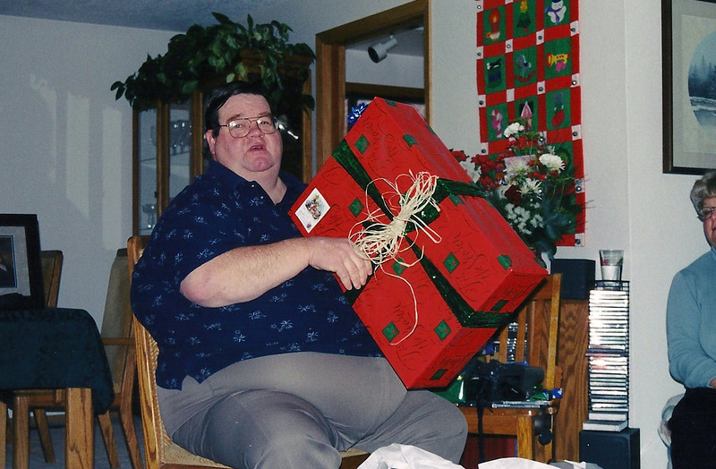 Dad, opening presents Christmas 2000
