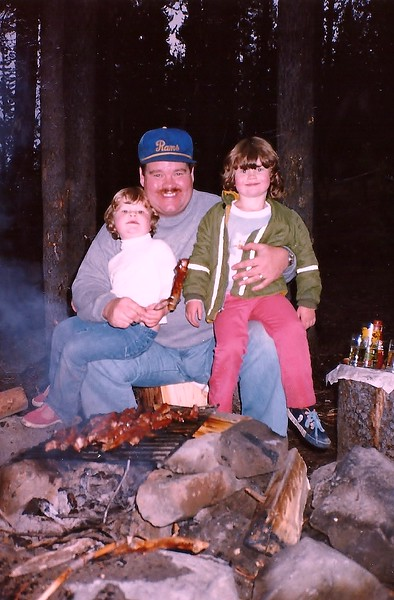 At Elk Lake, cooking ribs over the fire.