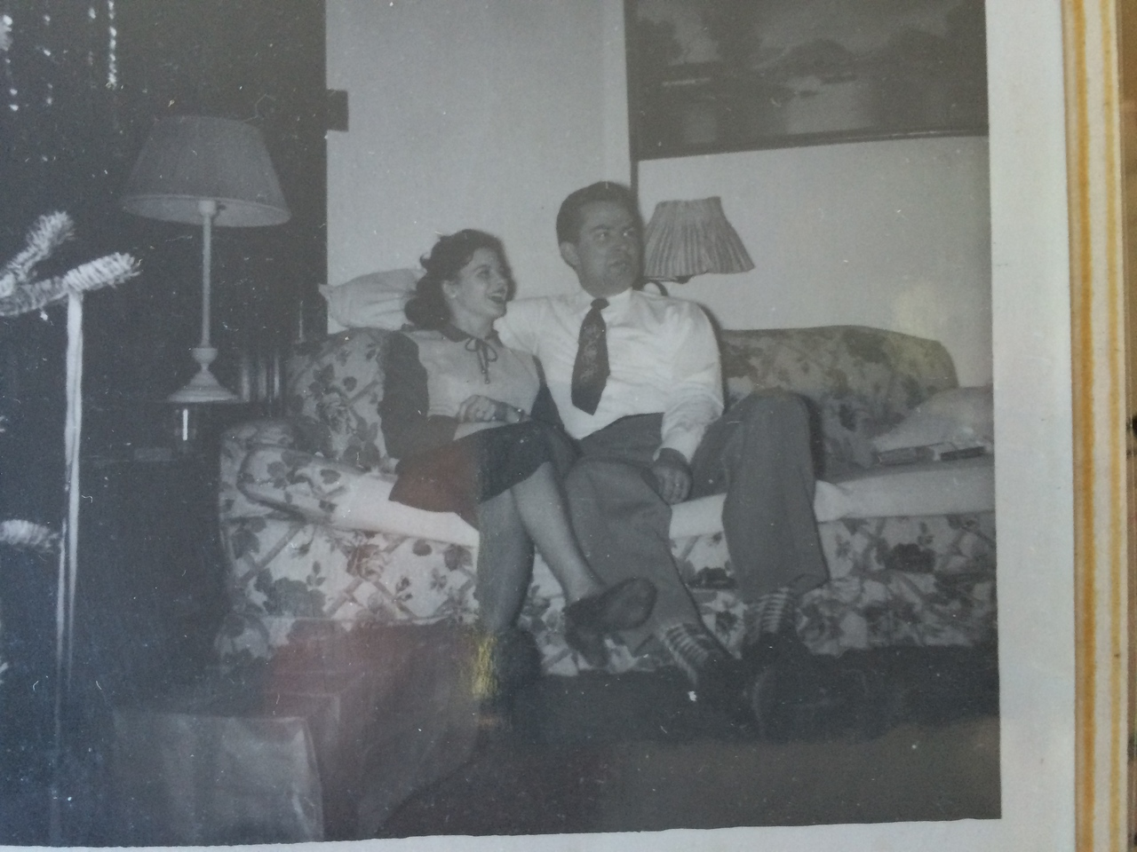 Clara and Dave, Christmas date unknown, Fredonia (Clara's parent's home)
