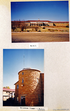 N.U.L.           National University of Lesotho main building and science building tower.