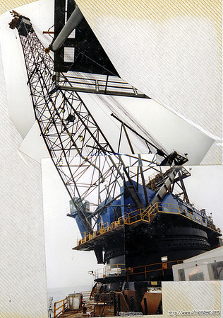 Crane on offshore pipelaying barge commercial diver
