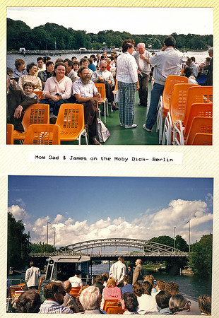 Mom,Dad and James onboard the tour boat 'Moby Dick'. Berlin, Germany 1987.