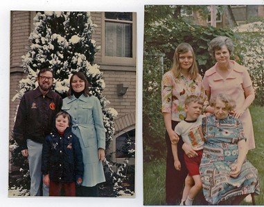 Bruce Polly and John Christmas 1976  Grandma hale, Grandma Porter, Polly, John June 28, 1975