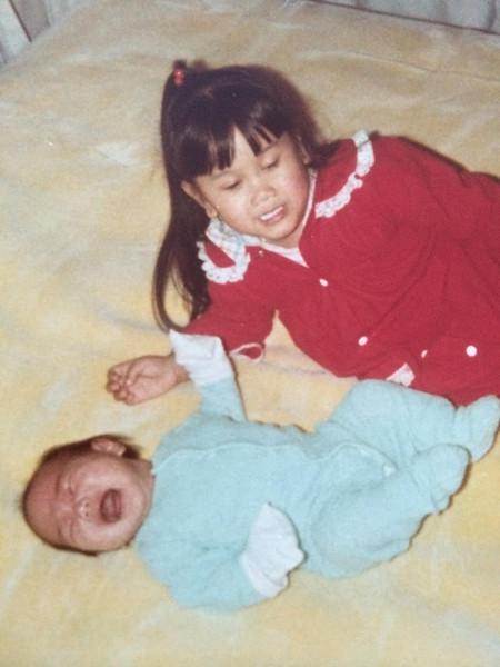Baby Amy with Lisa 1980