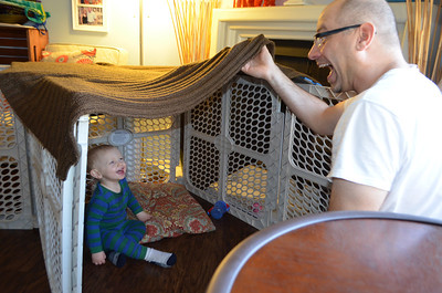 Daddy helped Ollie build his first fort. They had a great time playing for hours.