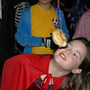 Audrey Oliver bobbing for donuts
