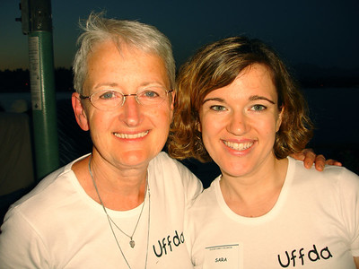 Mom and I  in our Uff Da shirts
